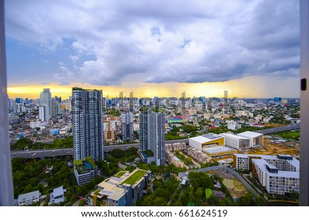 look out the window, High angle view a city of bangkok and blue of sky with clouds in the evening