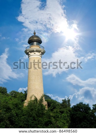Look out tower on the green hill - stock photo