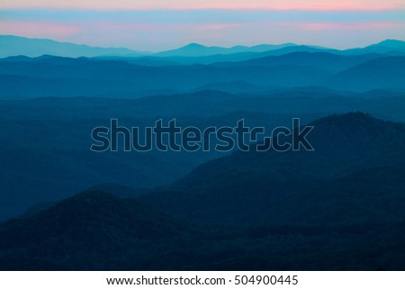 Look Rock Smoky Mountains National Park in Tennessee at sunset