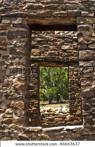 Look through any window- Ancient windows at Aztec National Monument- ancient Native American pueblo ruins - stock photo