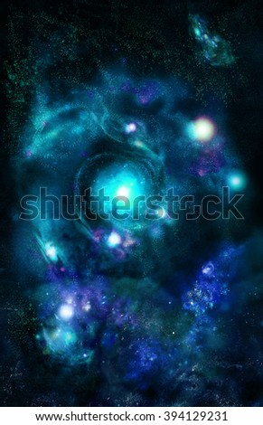 Look to the center galaxies, charming the spirals of stars. - stock photo
