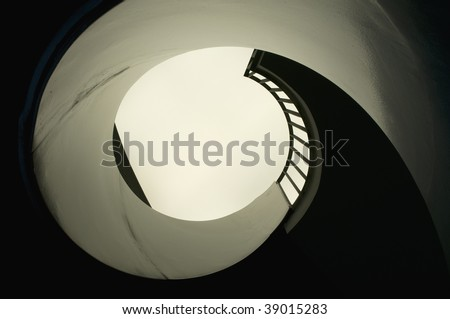 Look up an spiral Staircase - stock photo
