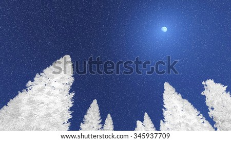 Look up at white snowy spruces silhouetted against night sky at snowfall. Decorative 3D illustration was done from my own 3D rendering file. - stock photo