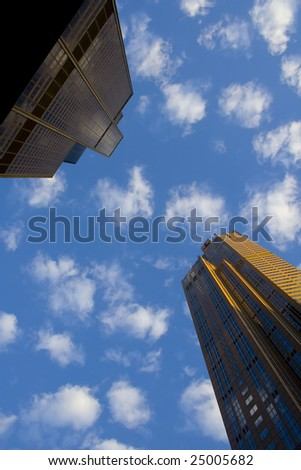 look up -Sears Tower and other skyscraper in Chicago - stock photo