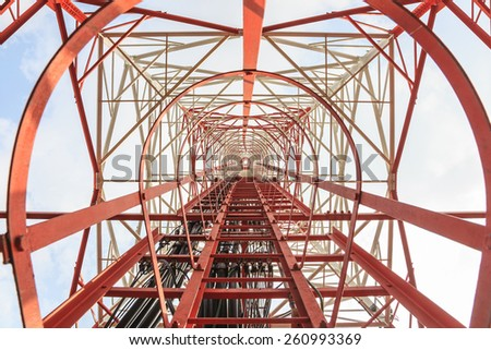 look up under telecommunication tower - stock photo
