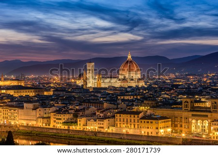 Looking across Florence to Duomo Santa Maria Del Fiore - stock photo