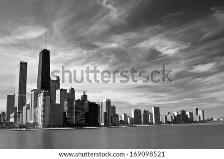 Looking across Lake Michigan at the Chicago skyline from Jane Adams Memorial Park. - stock photo