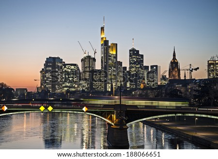 Looking across the Main to the evening skyline of Frankfurt.