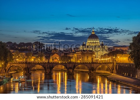 Looking across the Tiber in Rome towards the Basilica S pietro - stock photo