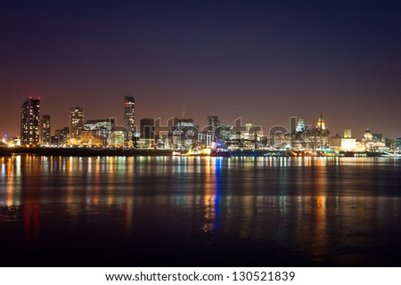 Looking across the water at the famous city of Liverpool - stock photo