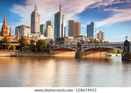 Looking across the Yarra river from Southbank towards Princes Bridge - stock photo