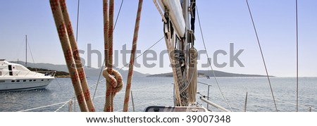 looking ahead on board an anchored sailboat
