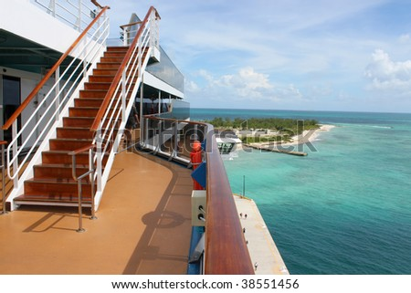 Looking at a pier in Grand Turk Bahamas from the deck of a cruise ship - stock photo