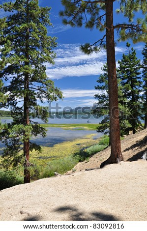 Looking at Big Bear Lake through pine trees in Southern California. - stock photo