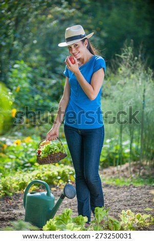 looking at camera, standing in her garden, a young woman a basket of vegetables by hand eats a fresh picked tomato - stock photo
