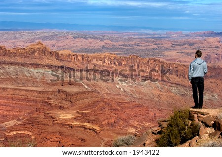 Looking at Martian landscape (Canyonlands National park, Utah) - stock photo