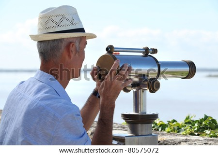looking at sea - stock photo