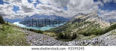 Looking at Spray Lake from the South West facing slope of Windtower, Near Canmore, Alberta, Canada. Mount Rimwall on right side. - stock photo