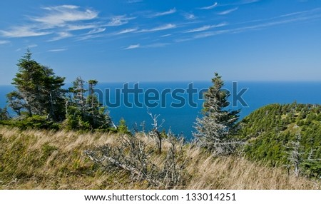 Looking at the Atlantic ocean from the Cape breton highlands - stock photo