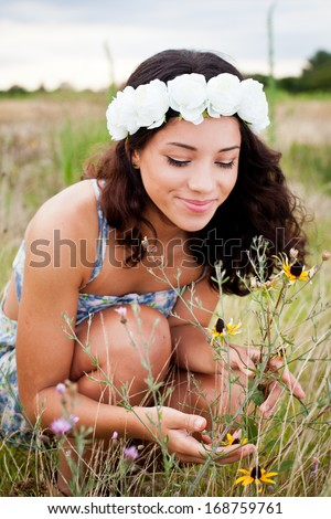 Looking at the flowers - stock photo