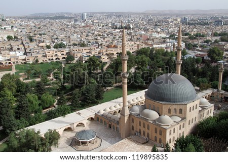 Looking at the Great mosque in Urfa, Turkey