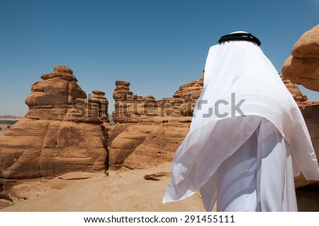 Looking at the horizon in Madain Saleh, Saudi Arabia. - stock photo