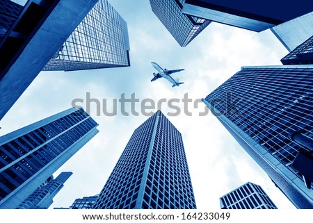 Looking at the skyscrapers of Hong Kong's financial district - stock photo