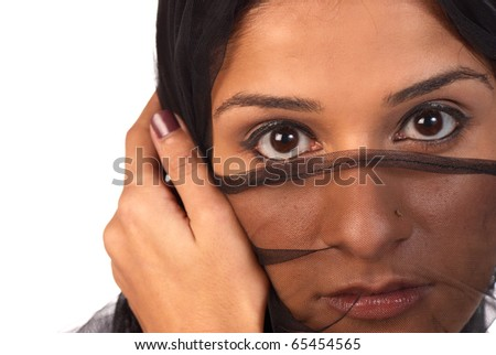 Looking at the world from behind a veil - stock photo