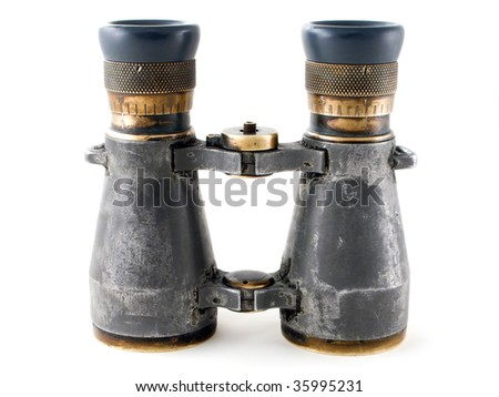 Looking binoculars lens isolated on white concepts