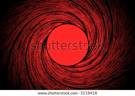 Looking down a from inside a gun barrel - stock photo