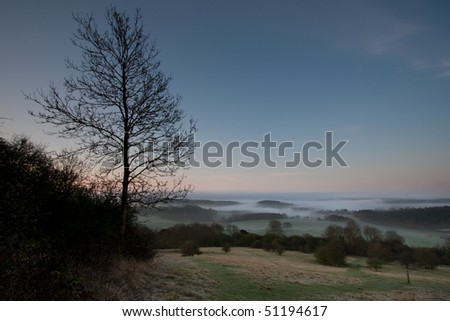 Looking down a hill towards some morning mist in the trees.  Taken just before dawn at Newlands Corner near Guildford in Surrey, UK. - stock photo