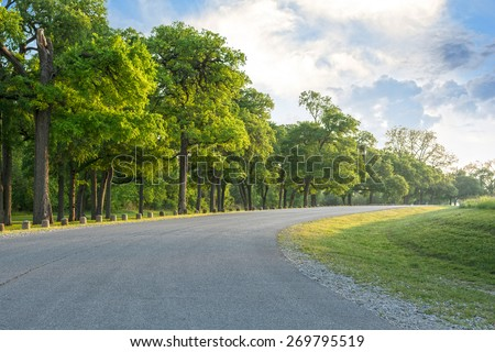 Looking down a tree lined road into the distance - stock photo