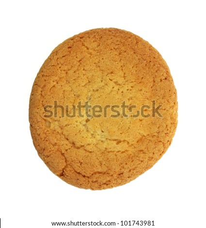 Looking down at a single baked sugar cookie. - stock photo