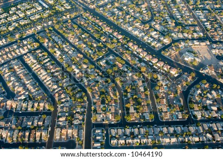 Looking down at Las Vegas suburbs - stock photo