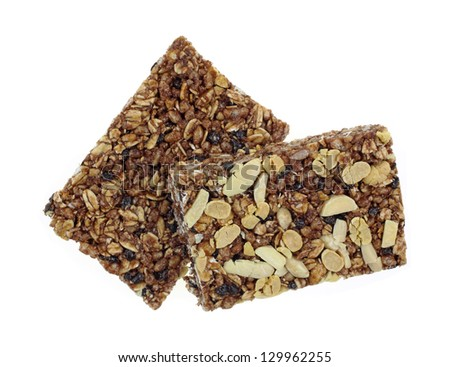 Looking down at the top and bottom of chewy granola bar. - stock photo