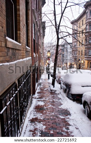 looking down beacon hill in boston after an early winter snow storm