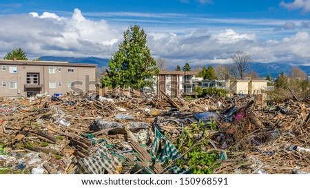 Looking down demolished building. - stock photo