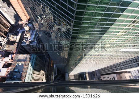 Looking Down from a sky scraper in New York City - stock photo