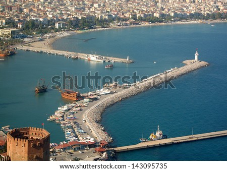looking down from the Alanya Castle to the Mediterranean Sea - stock photo