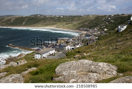 Looking down from the cliff top at Sennen Cove, Cornwall, England, UK. - stock photo