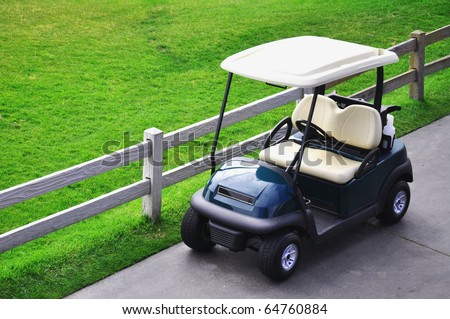 Looking down on a golf cart - stock photo