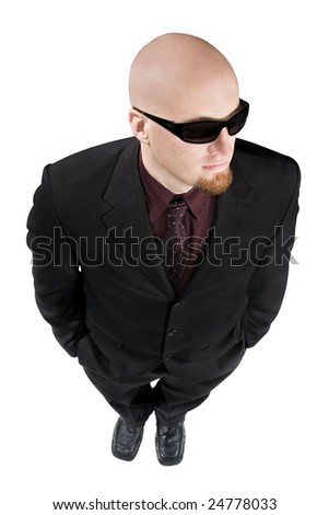 Looking down on a man in sunglasses and suit