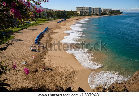Looking down on Kaanapali Beach, Maui, Hawaii - stock photo