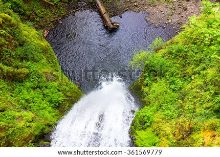 Looking down on Multnomah Falls in the Columbia River Gorge in Oregon - stock photo
