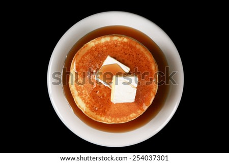 Looking down onto a stack of pancakes - stock photo