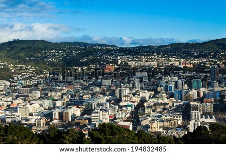 Looking down over the city of Wellington New Zealand. - stock photo