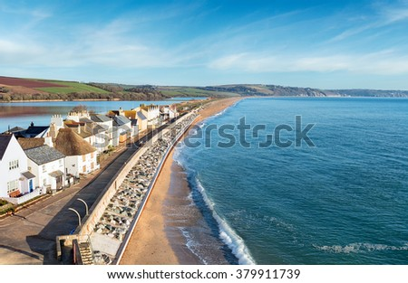 Looking down over the village of Torcross and the beach at Slapton Sands on the south coast of Devon - stock photo