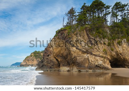 Looking down the cliffs of the Oregon Coast - stock photo
