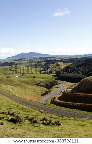 Looking down valley in New Zealand - stock photo