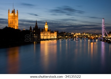 Looking East across along the River Thames from Lambeth Bridge - stock photo